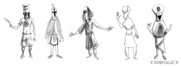 Main character design exploration sketches